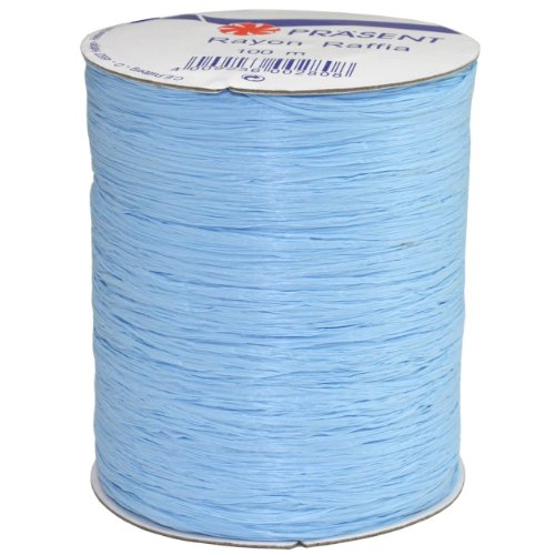 Morex Ribbon Rayon Raffia Fabric Ribbon Spool, 100-Yard, Light Blue