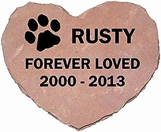 Pet Memorial Headstone Grave Marker Sandblast Engraved Red Natural Stone Heart