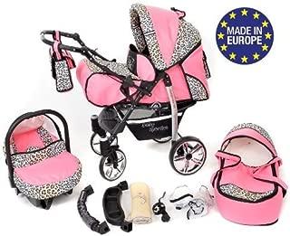 Sportive X2 - Sistema de viaje 3 en 1, silla de paseo, carrito con capazo y silla de coche, RUEDAS GIRATORIAS y accesorios (Sistema de viaje 3 en 1, rosado y leopardo)