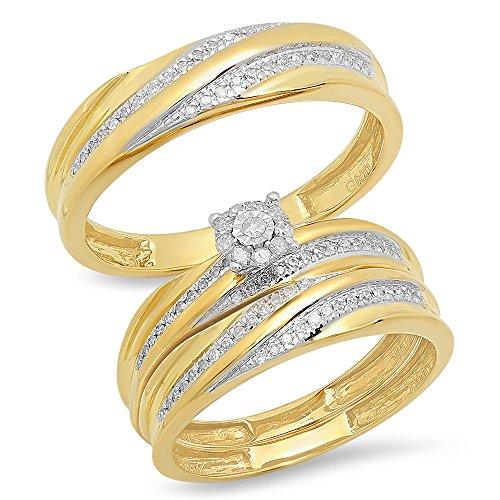 DazzlingRock Collection 0,33Quilates (de quilate) 10K Oro Amarillo Redondo Blanco Diamante Hombres y Mujeres del Anillo de Compromiso Novia Trio Set