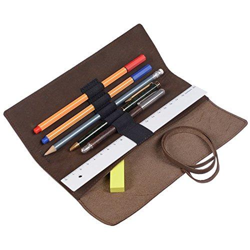 Artist Stifterolle/Stifte Mäppchen/Leder braun ohne Inhalt für 5 Stifte und ein Lineal mit Notizzettelfach