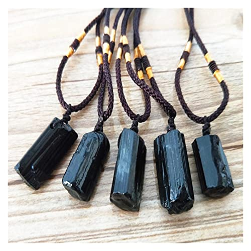 JSJJAWA Piedras Preciosas 5 Unids Natural Black Tourmaline Piedra Colgante áspero Original Cristal Energía Chakra Colgante para Mujer Y Hombre Regalo Joyería