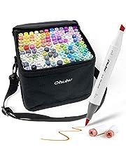 Ohuhu マーカーペン ふでタイプ ブレンダーペン付き イラストマーカー 筆?太字 両用 鮮やか 手帳 イラスト 色塗り 塗る絵 カード DIY 子供 大人