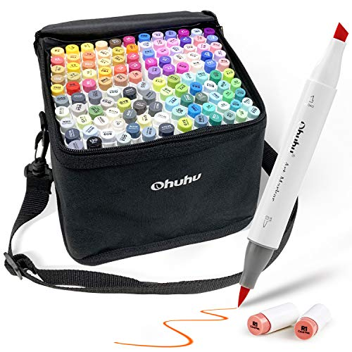 Ohuhu マーカーペン 120色 筆タイプ 筆先 ふでタイプ ブレンダーペン付き イラストマーカー 筆・太字 鮮やか 手帳 イラスト 色塗り 塗る絵 カード DIY 子供 大人