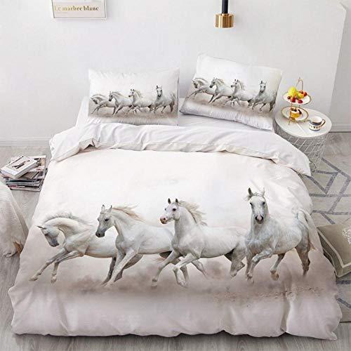 Set di biancheria da letto con cavalli, 3D, con copripiumino e federe, colore: bianco