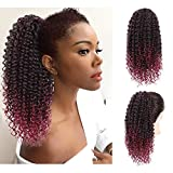 AISI BEAUTY Kinky Curly Drawstring Ponytail for Black Women Afro Kinky Ponytail Drawstring Clip on Ponytails HairPiece(1B/BUG#)