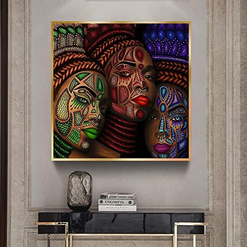wZUN Póster de Pintura de Retrato de Cara de Tatuaje de Mujeres étnicas africanas e Imagen Mural Impresa para decoración de Pared de artículos para el hogar 70X70CM