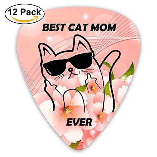 Best Cat Mom Ever Sampler Guitar Picks - 12 Pack Unique Accessory For Guitar Player Best Gift For Guitarist