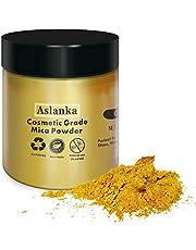 Aslanka Glitter goud Mica-poeder, natuurlijke pigmenten Glitter epoxyharsverf voor zeep maken, badbom, kaars, cosmetische oogschaduw, make-up, nagellak, slijm, verf(50g/1.76oz)
