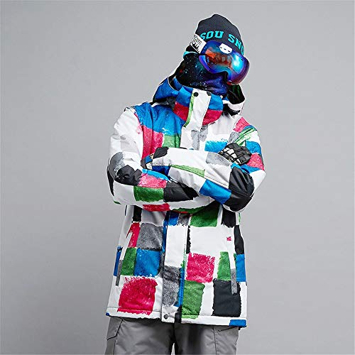 BGROESTWB Chaqueta de esquí para hombre, impermeable, resistente al viento, chaqueta de invierno gruesa (color: blanco, talla: L)
