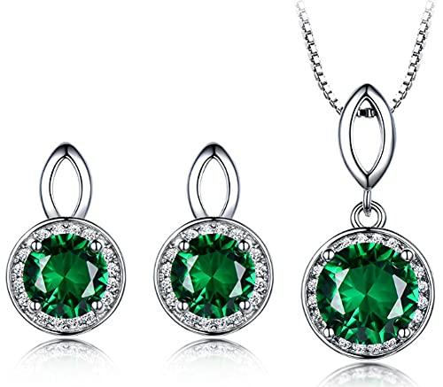 CHXISHOP Conjunto de joyería de las mujeres moda aguamarina piedra 925 plata de ley redonda piedras preciosas incrustadas Zircon pendiente collar de dos piezas conjunto verde