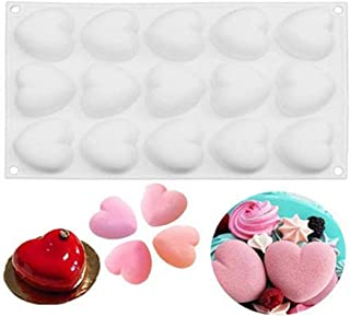 UG LAND INDIA 15 Cavity Mini Heart Silicone Molds for Baking Mousse Cake, 3D Silicone Baking Mold Tray for Candy Pastry Ch...