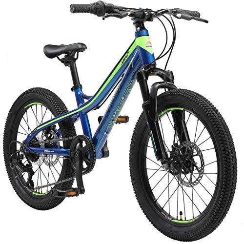 BIKESTAR Bicicleta de montaña de Aluminio Bicicleta Juvenil 20 Pulgadas de 6 a 9 años | Cambio Shimano de 7 velocidades, Freno de Disco, Horquilla de suspensión | niños Bicicleta Azul Verde