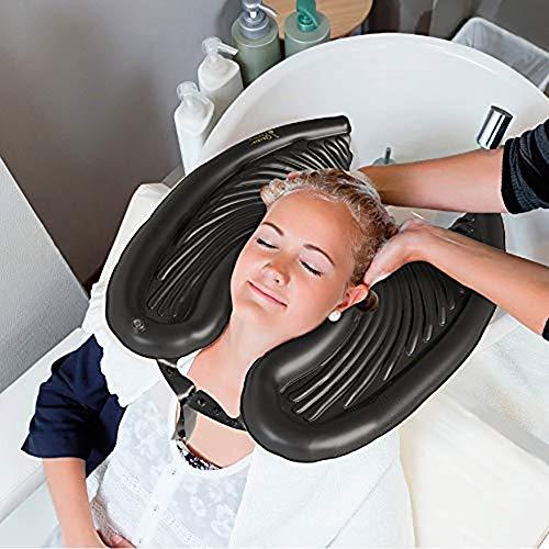 Lavabo de Champú Inflable Negro, Bandeja para Lavar El Pelo Inflable de PVC, Lavacabezas Bandejas Lavar Portátil Médica para Pacientes de Edad Avanzada y Mujeres Embarazadas