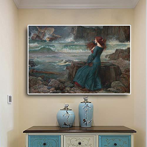 KWzEQ Tempesta, Pittura a Olio, Tela, Poster, Muro scandinavo, Soggiorno,Pittura Senza Cornice,60x90cm