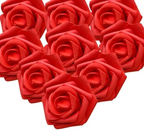 50er Schaumrosen Künstliche Blumen Rosenköpfe Rosenblüten Rosa Foamrosen zum Basteln Brautstrauß DIY Party Hause Hochzeit Deko