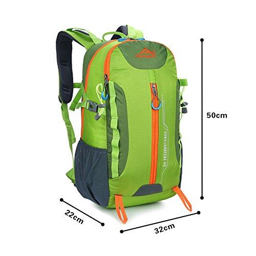 Babimax 40l escursioni zaino da trekking zaino per la scuola per sport outdoor, Green