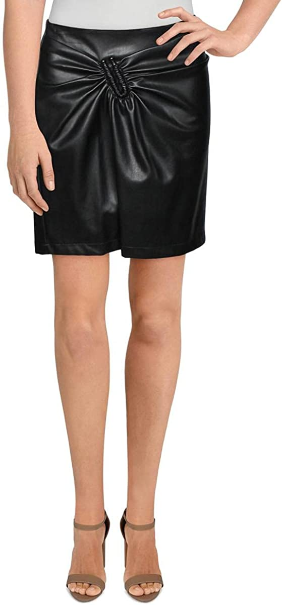 Lucy Paris Womens Hook Gathered Faux Leather Mini Skirt