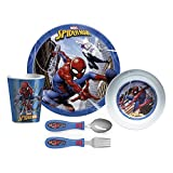 Zak Designs Dinnerware Set Includes Plate, Bowl, Tumbler and Utensil Tableware, Made of Durable Material and Perfect for Kids, 5pc Cup-Untensils, Spider Man