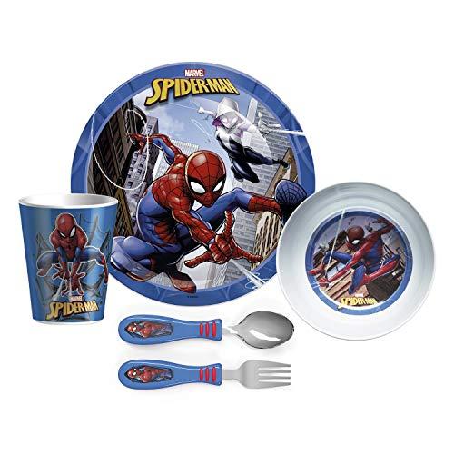 Zak Designs O conjunto de louça de 5 peças inclui prato, tigela, copo e utensílios, feito de material durável e perfeito para crianças, sem tensão, Homem-Aranha