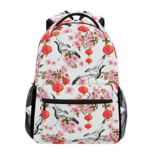 TIZORAX rot Chinesische Laterne Spring pink Blumen Crane Watercolor Rucksack Schulranzen Segeltuch Wandern Reise Rucksack
