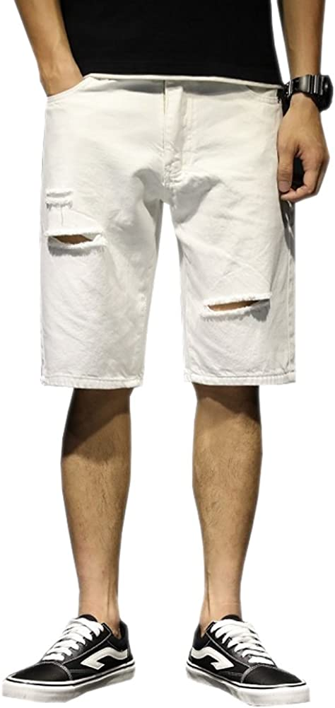 Only Faith Men's White Casual Denim Shorts Ripped Holes Short Jeans