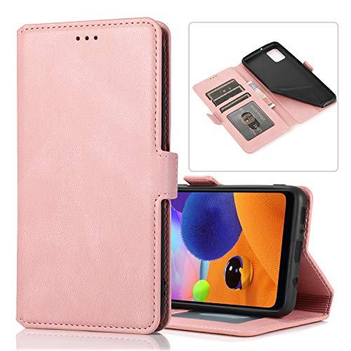 Preisvergleich Produktbild Snow Color Galaxy A31 Hülle,  Premium Leder Tasche Flip Wallet Case [Standfunktion] [Kartenfächern] PU-Leder Schutzhülle Brieftasche Handyhülle für Samsung Galaxy A31 - COKLT010513 Rosa Gold