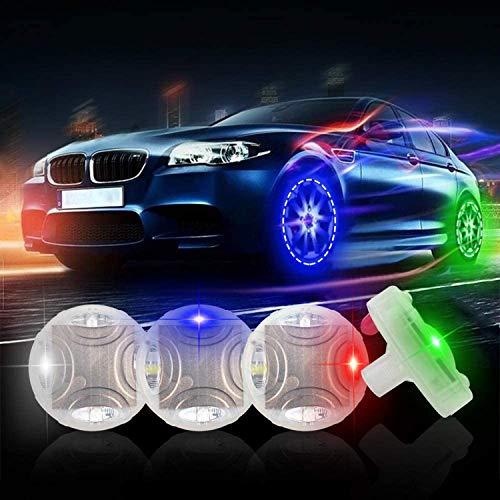 ASWT -Luces solares para Llantas de automóviles, Luces solares para Llantas de Ruedas, Bicicletas para automóviles,con sensores de Movimiento, 15 Modos LED de Colores Intermitentes