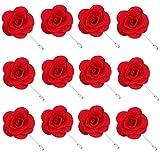 Rhungift Handmade rose e Golden leave fiore spilla per uomo donna tuta (confezione da 12) e Lega, colore: Red, cod. Camellia-Flower-Red-01