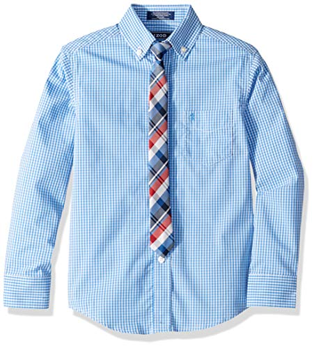 IZOD Boys' Big Long Sleeve Dress Shirt with Tie, Dragonfly, 12