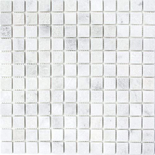 Mozaïek tegel marmer natuursteen wit Ibiza antiek marmer voor muur badkamer douche keuken tegelspiegel THEKENVERkledING badkuip mozaïekmat mozaïekplaat | 10 mozaïekmatten