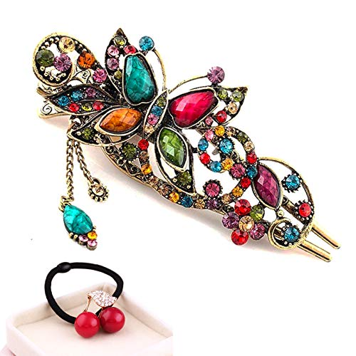 eKoi Korean Palace Tradition Collection - Retro Vintage Color Rhinestone Hair Pieces Stick Barrette Alligator Clip Snap Ornament Pin Accessory Band for Women Girl