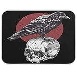 Oarencol Raven Skull Red Sun - Alfombrilla de secado para platos (tamaño grande, 45,7 x 60,9 cm), diseño de calavera