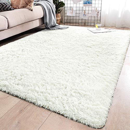 MENGH Berber Teppich 140x200cm, Flachflor Vorleger rutschfeste Strapazierfähig fürWohnzimmerEsszimmerGästezimmer Weiß