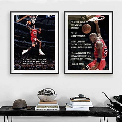 WTYBGDAN Basketball Poster Michael Jordan Wandbilder Zitat Malerei Leinwand Kunstdruck für Zuhause Wohnzimmer Dekor | 45x65cmx2Pcs / ohne Rahmen