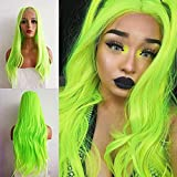 Karissa Fluorescent Green Long Natural Straight Synthetic Lace Front Wigs for Women Light Green Wig Middle Part Pastel Green Lace Wigs with Baby Hair Heat Resistant Realistic Cosplay Wigs 24inch