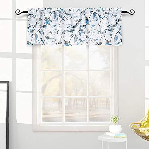 Melodieux Vintage Floral Birds Print Rod Pocket Valance for Living Room Kitchen Cafe, Elegant Plant Twig Leaves Curtain Valance, 52 by 18 Inch, Blue (1 Panel)