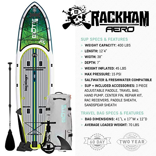 BOTE Rackham Aero Inflatable Stand Up Paddle Board for Fishing, SUP with Accessories   Pump, Paddle, Fin, Travel Bag