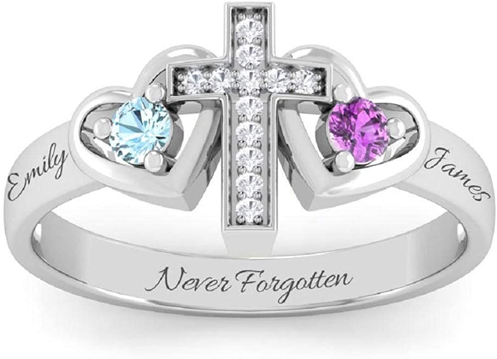 Molywoo Personalized Promise Rings for Her Mother Rings with 2 Simulated Birthstones Custom Couples Name Ring for Women