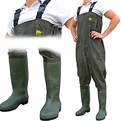 Lineaeffe All Weather Double PVC Waterproof Carp Coarse Fishing Chest Waders / Wellies in Sizes 7 8 9 10 11 & 12 by Lineaeffe