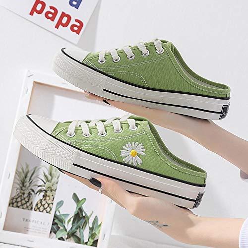 chanclas mujer,2020 nuevos zapatos de mujer, pequeños zapatos de lona con margaritas, versión coreana para mujer de zapatos de un paso a bordo, aceite brillante, medias zapatillas sin tacón D681-verd