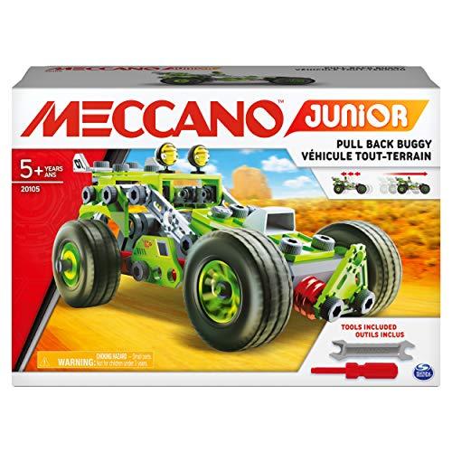 MECCANO, 3-in-1 Model Building, for Kids Aged 5 and Up Junior, 3 en 1 Deluxe Pull Back Buggy Steam Kit de construcción, para niños a Partir de 5 años, Color Gris (Spin Master 6055133)