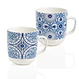 Brandani 54305 Le Maioliche - Set di 2 tazze in porcellana, colore: Blu