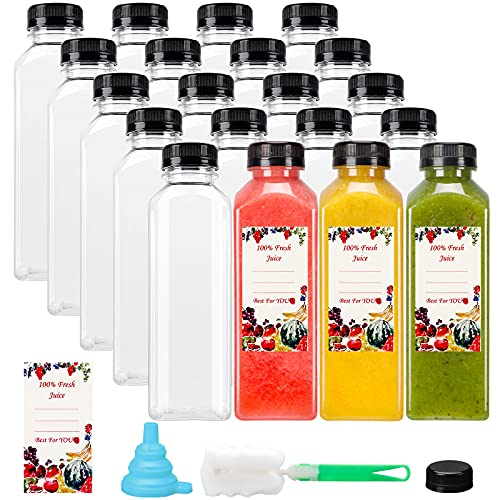SUPERLELE 20pcs 16oz Empty Plastic Juice Bottles with Caps, Reusable Clear Bulk Beverage Containers with Black Tamper Evident Lids for Juicing, Smoothie, Drinking and Other Beverages