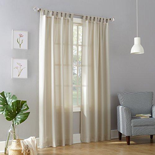 No. 918 Trevor Heathered Texture Semi-Sheer Tab Top Curtain Panel