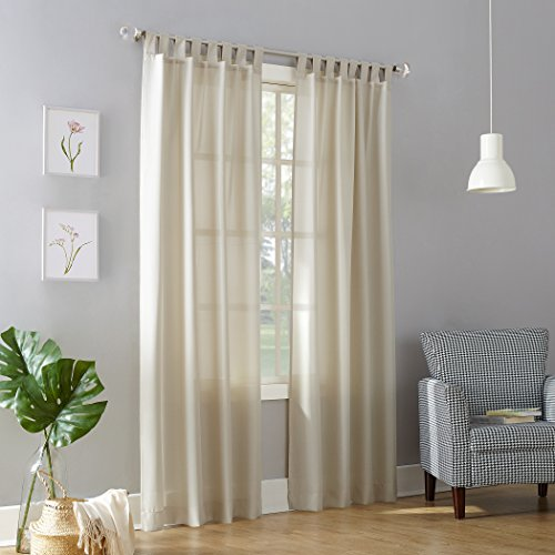 "No. 918 53607  Trevor Semi-Sheer Tab Top Curtain Panel, 40"" x 108"", Ecru Beige"