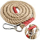 YaeMarine Heavy Duty 10 FT Gym Climbing Ropes with Locking Device for Adult Improve Grip and Increase Power (10FT, 1.5 Inch, Red Head)