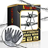 MAPORCH 30FT Real Barbed Wire Garland for Craft, 17 Gauge 4 Point Razor Wire Fence for Bird Feeder, Baseball, Lucille Bat, Yard and Garden, Heavy Duty Barb Craft Wire, Included A Pair of Gloves