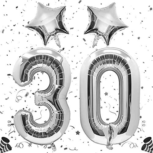 Unisun Globo de plata número 30, globos digitales gigantes de 40 pulgadas con globo de lámina de estrella para hombres, niños y mujeres 30 3 1er cumpleaños fiesta aniversario boda decoraciones