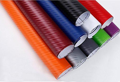 ZERTRAN Car Styling Impermeabile Adesivo per Auto 3D Fibra di Carbonio Film in Vinile Car Wrap DIY Autoadesivo Parte sintonia Auto 127 * 30cm Verde (Rosso)